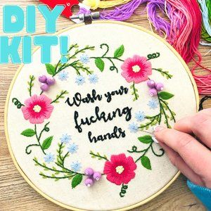 Stamped funny embroidery DIY Kit for beginners